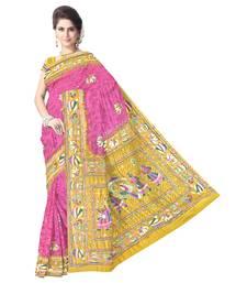 Kala Sanskruti Women's Golden and Pink Pure Gaji Silk Bandhej Embellished Designer Saree