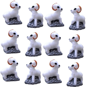 White Toy Snow Sheep Garden Decor Showpiece Set Of 12