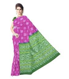 Kala Sanskruti Women's Magenta Pure Gaji Silk Bandhej Printed Designer Saree