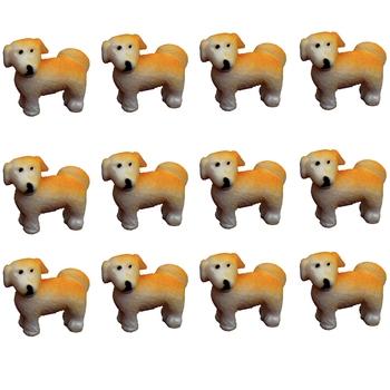 Brown Toy Dog Garden Decor Showpiece Set Of 12