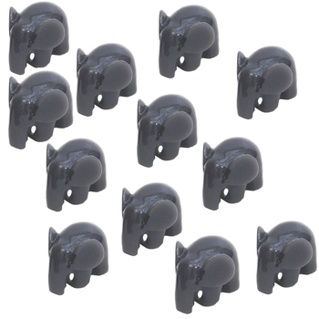 Grey Baby Elephant Miniature Garden Toy Decor Showpiece Set Of 12