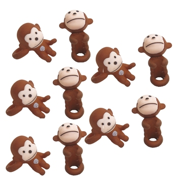 Miniature Brown Jumping Monkey Garden Toy Set Of 10