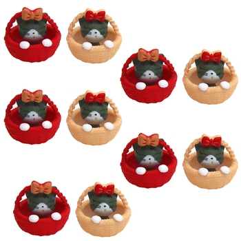 Cute Little Kitty In Basket Toy Showpiece For The Garden Set Of 10