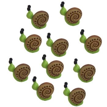 Green Toy Snail Garden Decor Showpiece Set Of 10