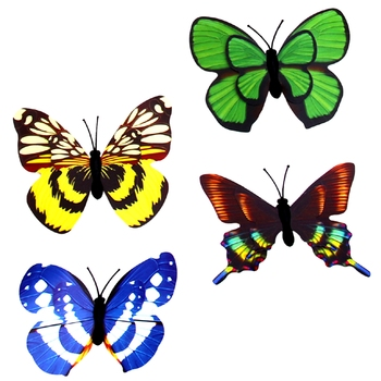 Multicolor Designer Butterfly Garden Toy with Magnet Set of 20