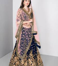 Marvellous Navy Blue Colored Embroidered Pure Velvet Bridal Lehenga Choli For Wedding