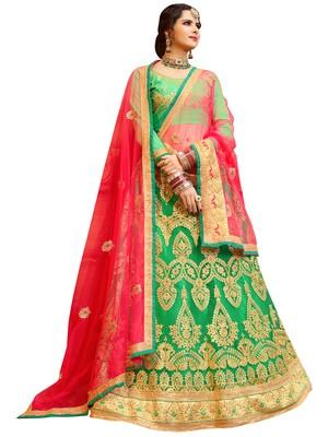 Green Colour Heavy Zari Embrodiery Net Sattin Fabric Lehenga With Blouse
