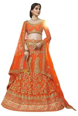 Orange Colour Heavy Zari Embrodiery Net Sattin Fabric Lehenga With Blouse