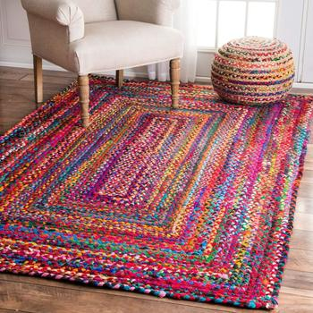Indian Braided Floor Rug, Beautiful Purely Handmade Vintage Traditional Rugs, Home Living Decor, Reversible Carpet