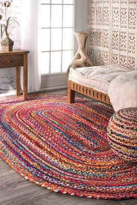 Braided Rag Rug Oval Meditation Mat Mandala Bohemian Decor Colourful Area Home Floor