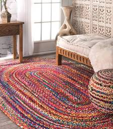 braided RAG RUG, Oval rug, meditation mat, mandala rug bohemian decor, colourful area rug home decor rug floor