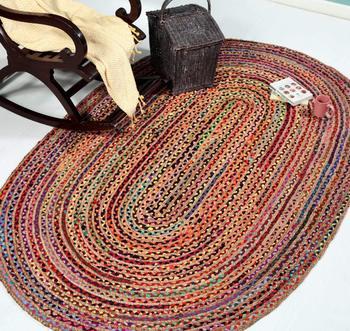 Indian Braided Rug Handmade Jute Rug, Natural Jute Oval Rug Indian Handwoven Ribbed Solid Area Rugs, Beautiful Floor