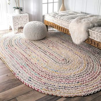 Rug Indian Braided Floor Rug Handmade Jute Rug, Natural Jute Oval Rug Indian Handwoven Ribbed Solid Area Rugs