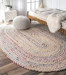 Rug Indian Braided Floor Rug Handmade Jute Rug, Natural Jute Oval Rug Indian Handwoven Ribbed Solid Area Rugs