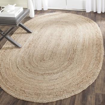 Indian Braided Floor Rug Handmade Jute Rug, Natural Jute Oval Rug Indian Handmade Handwoven Ribbed Solid Area Rugs