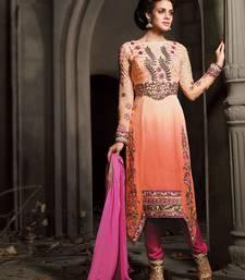 Buy Peach embroidered dupion silk salwar with dupatta salwar-kameez online