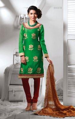 Green embroidered dupion silk salwar with dupatta