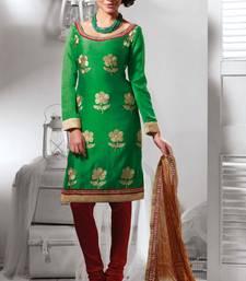 Buy Green embroidered dupion silk salwar with dupatta salwar-kameez online