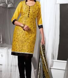 Buy Yellow printed dupion silk salwar with dupatta salwar-kameez online