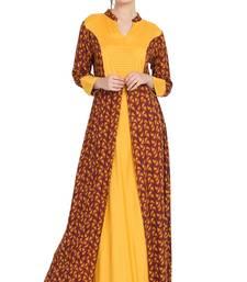 Mustard Printed Rayon Abaya