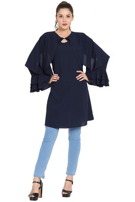 Navy Blue Plain Nida Islamic Tunics