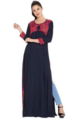 Navy Blue Plain Rayon Islamic Tunics