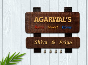 Karigaari India Wooden Name Plate For