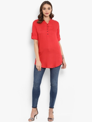 Red plain rayon kurtas and kurtis