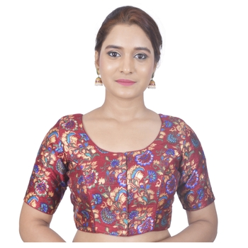 Biyu Banglori Silk Maroon Floral Printed Designer Princess Cut Padded Half sleeves Readymade Saree Blouse