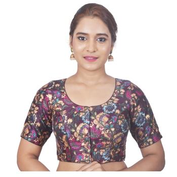 Biyu Banglori Silk Brown Floral Printed Designer Princess Cut Padded Half sleeves Readymade Saree Blouse