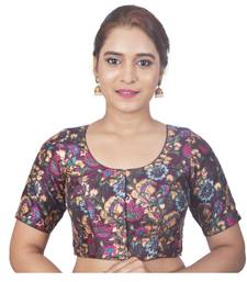 Biyu Banglori Silk Brown Floral Printed Designer Princess Cut Padded Half sleeves Readymade Saree Blouse