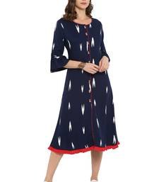 Buy Navy blue printed rayon kurtas and kurtis kurtas-and-kurtis online