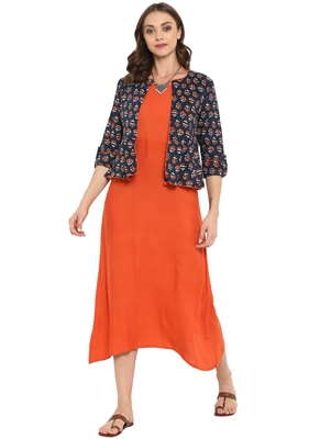 Orange printed rayon kurtas and kurtis