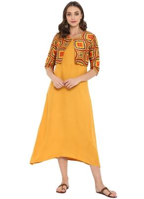 Yellow printed rayon kurtas and kurtis