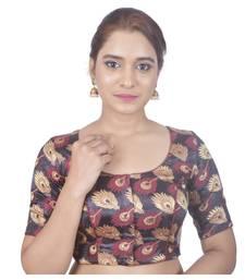 Biyu Crepe Silk Round Neck Designer Princess Cut Black Half Sleeves Padded Readymade Saree Blouse