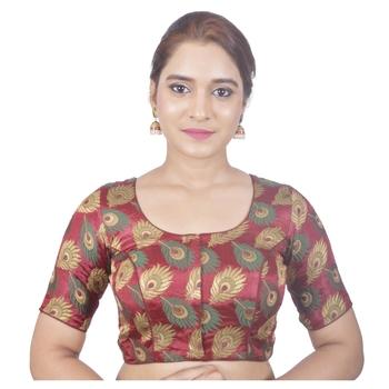 Biyu Crepe Silk Round Neck Designer Princess Cut Maroon Half Sleeves Padded Readymade Saree Blouse