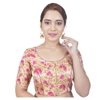 Biyu Banglori Silk Pink Floral Printed Designer Princess Cut Padded Half sleeves Readymade Saree Blouse