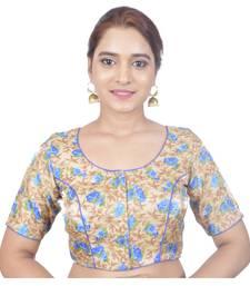 Biyu Banglori Silk Beige Floral Printed Designer Princess Cut Padded Half sleeves Readymade Saree Blouse