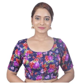 Biyu Banglori Silk Blue Rose Printed Designer Princess Cut Padded Half sleeves Readymade Saree Blouse