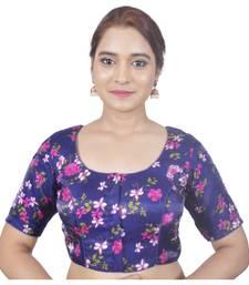 Biyu Banglori Silk Blue Floral Printed Designer Princess Cut Padded Half sleeves Readymade Saree Blouse