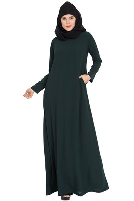 Dark Green Plain Nida Abaya