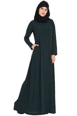 Dark Green Plain Nida Abaya