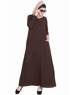 Dark Brown Plain Nida Abaya