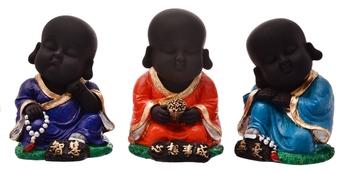 Karigaari India Handcrafted Set of 3 Resine Little Buddha Monk Sculpture