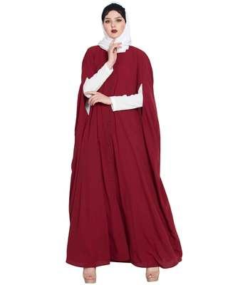 Maroon plain nida abaya
