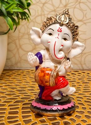 Karigaari India Handcrafted Resine Little Dhol Playing Ganesha Idol Sculpture