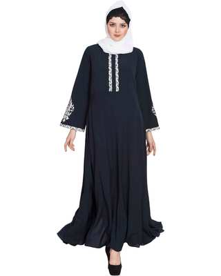 Navy blue embroidered nida abaya