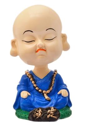 Karigaari India Handcrafted Resine Meditating Buddha Monk Idol Sculpture