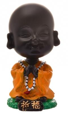 Karigaari India Handcrafted Resine Praying Buddha Monk Idol Sculpture