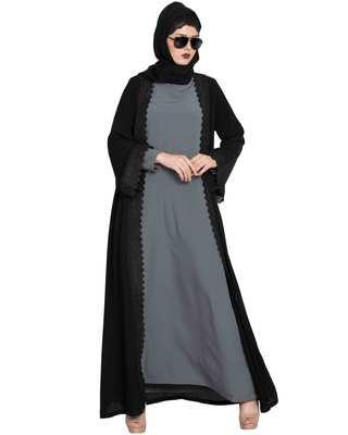 Black Plain Nida Abaya Shrug With Lace
